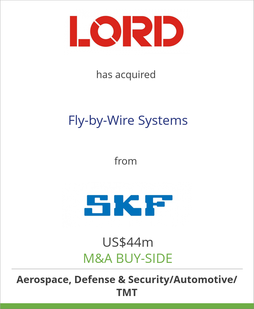 LORD Corporation has acquired Fly-by-Wire Systems from SKF Group ...