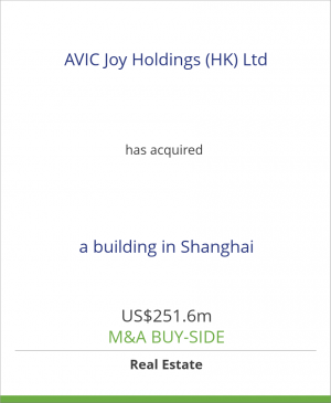 Tombstone image for AVIC Joy Holdings (HK) Ltd has acquired a building in Shanghai