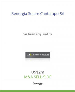 Tombstone image for Renergia Solare Cantalupo Srl has been acquired by Clean Capital