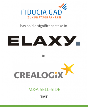 Tombstone image for Fiducia & GAD IT AG has sold a significant stake in ELAXY GmbH to CREALOGIX Holding AG