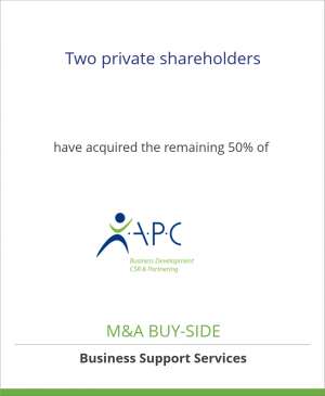 Tombstone image for Two private shareholders have acquired the remaining 50% of APC Business Services GmbH