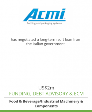 Tombstone image for Acmi Spa has negotiated a long-term soft loan from the Italian government