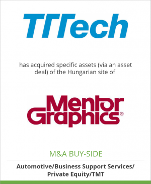 Tombstone image for TTTech Computertechnik AG has acquired specific assets (via an asset deal) of the Hungarian site of Mentor Graphics Magyarország Kft