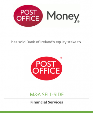 Tombstone image for Post Office Insurances has sold Bank of Ireland's equity stake to Post Office