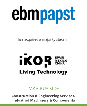 Tombstone image for ebm-papst Mulfingen GmbH&Co. KG has acquired a majority stake in IKOR Group