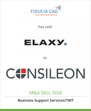 Tombstone image for Fiducia & GAD IT AG has sold ELAXY Format GmbH to Consileon Business Consult. GmbH