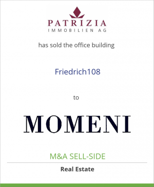 Tombstone image for PATRIZIA Immobilien AG has sold the office building Friedrich108 to MOMENI Investment Management