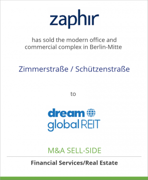 Tombstone image for Zaphir Asset Management has sold the modern office and commercial complex in Berlin-Mitte Zimmerstraße / Schützenstraße to Dream Global REIT