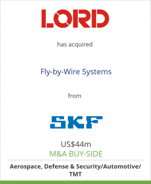 Tombstone image for LORD Corporation has acquired Fly-by-Wire Systems from SKF Group