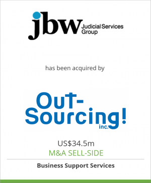 Tombstone image for JBW Group Limited/Case Dynamics has been acquired by OUTSOURCING Inc.