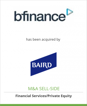 Tombstone image for bfinance Holdings Limited has been acquired by Baird Capital