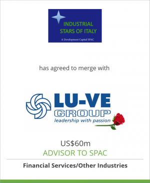 Tombstone image for Industrial Stars of Italy has agreed to merge with LU-VE Group