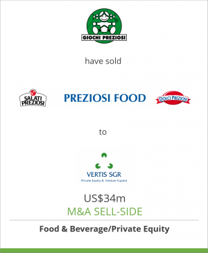 Tombstone image for Giochi Preziosi and Management have sold Preziosi Food Srl to Vertis SGR and Hat