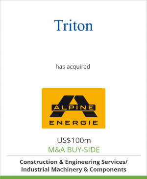 Tombstone image for Triton Partners (Fund IV) has acquired Alpine Energie