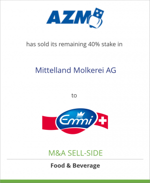 Tombstone image for AZM Verwaltungs AG has sold its remaining 40% stake in Mittelland Molkerei AG to Emmi AG