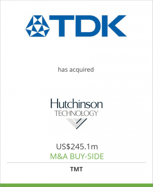 Tombstone image for TDK Corporation has acquired Hutchinson Technology