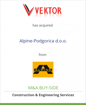 Tombstone image for Vektor d.o.o. has acquired Alpine-Podgorica d.o.o. from ALPINE Bau GmbH