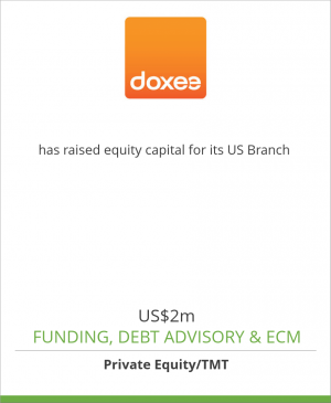 Tombstone image for Doxee Spa has raised equity capital for its US Branch