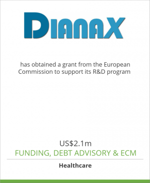 Tombstone image for Dianax SpA has obtained a grant from the European Commission to support its R&D program