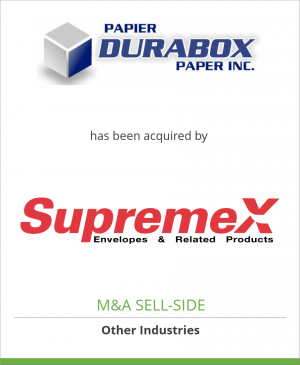 Tombstone image for Durabox Paper Inc. has been acquired by SupremeX Inc.