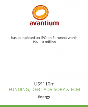 Tombstone image for Avantium has completed an IPO on Euronext worth US$110 million