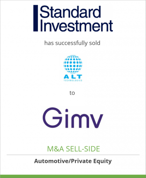 Tombstone image for Standard Investment has successfully sold ALT Technologies to Gimv