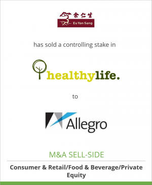 Tombstone image for Eu Yan Sang International has sold a controlling stake in  Healthy Life Group to Allegro Funds