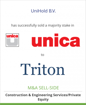 Tombstone image for UniHold B.V. has successfully sold a majority stake in Unica to Triton