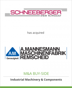Tombstone image for Schneeberger Holding AG has acquired A. MANNESMANN MASCHINENFABRIK