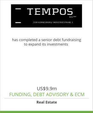 Tombstone image for Tempos K01 GmbH has completed a senior debt fundraising to expand its investments