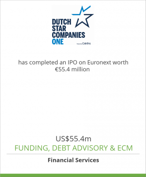 Tombstone image for Dutch Star Companies ONE has completed an IPO on Euronext worth US$ 55.4 million