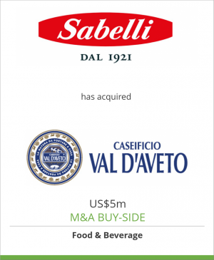 Tombstone image for Sabelli SpA has acquired Caseificio Val d'Aveto Srl