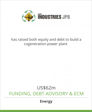 Tombstone image for Les Industries JPB has raised both equity and debt to build a cogenreation power plant