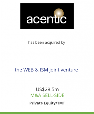 Tombstone image for Acentic Holding GmbH has been acquired by the WEB & ISM joint venture