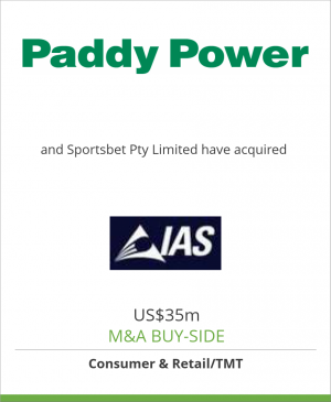 Tombstone image for Paddy Power plc and Sportsbet Pty Limited have acquired International All Sports Limited