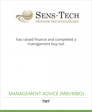 Tombstone image for Sens Tech Limited has raised finance and completed a management buy-out