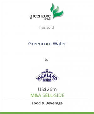Tombstone image for Greencore Group plc has sold Greencore Water to Highland Spring Ltd