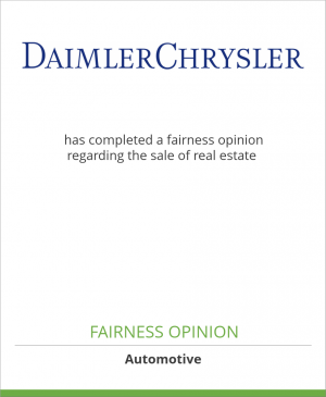 Tombstone image for DaimlerChrysler AG has completed a fairness opinion regarding the sale of real estate