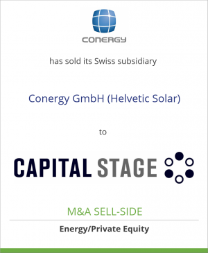 Tombstone image for Conergy AG has sold its Swiss subsidiary Conergy GmbH (Helvetic Solar) to Capital Stage AG