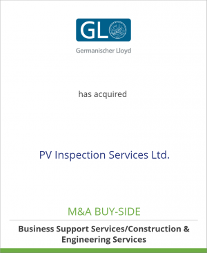 Tombstone image for Germanischer Lloyd AG has acquired PV Inspection Services Ltd.