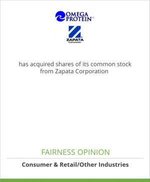 Tombstone image for Omega Protein Corp. (NYSE: OME) has acquired shares of its common stock from Zapata Corporation