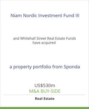 Tombstone image for Niam Nordic Investment Fund III and Whitehall Street Real Estate Funds have acquired a property portfolio from Sponda