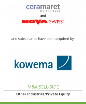 Tombstone image for MEK Holding SA and subsidiaries have been acquired by Kowema Beteiligungs AG