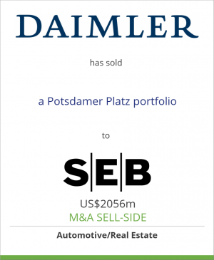 Tombstone image for Daimler AG has sold a Potsdamer Platz portfolio to SEB Asset Management AG