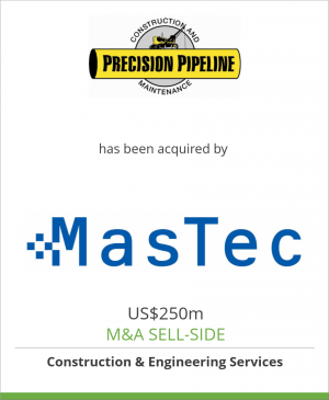 Tombstone image for Precision Pipeline, LLC has been acquired by MasTec, Inc.